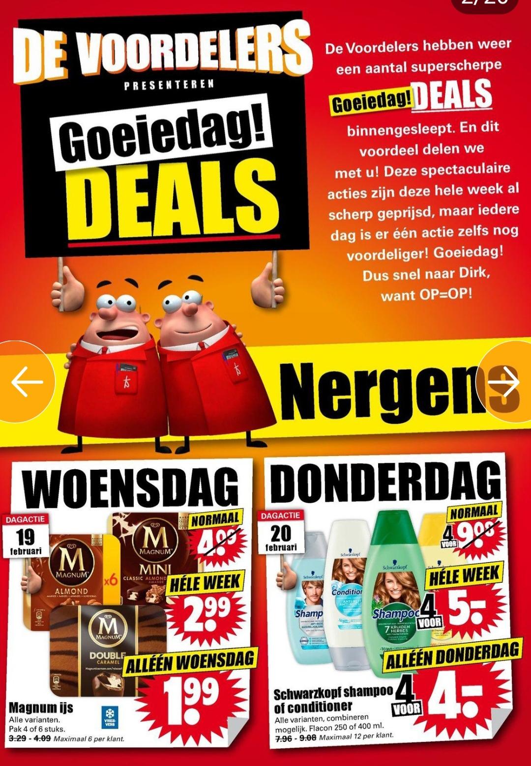 Goeiedag Deals bij Dirk (o.a. Coca-Cola, Fanta, Schwarzkopf en Magnum) @Dirk