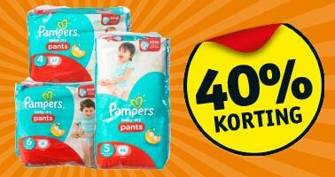 40% korting op Pamper Luierbroekjes midpakken of reuzepakken @ Kruidvat