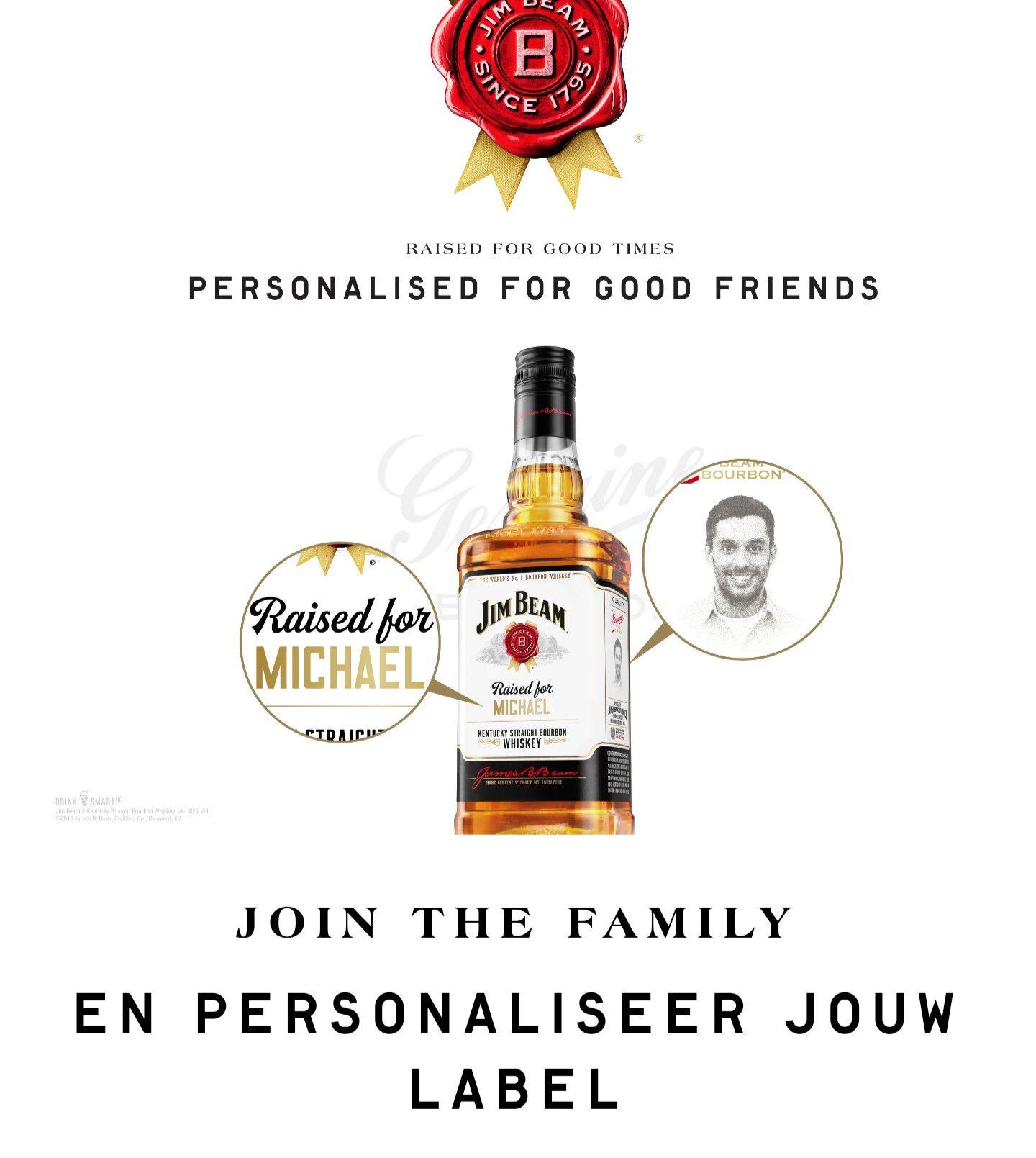Gratis persoonlijke label voor Jim beam wiskey
