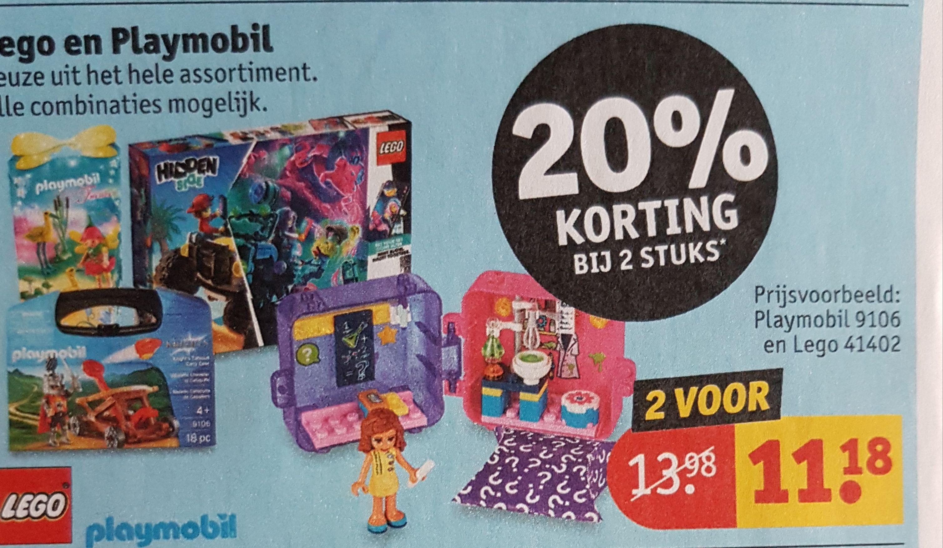 Bij aankoop van 2 artikelen playmobil en of lego 20% korting