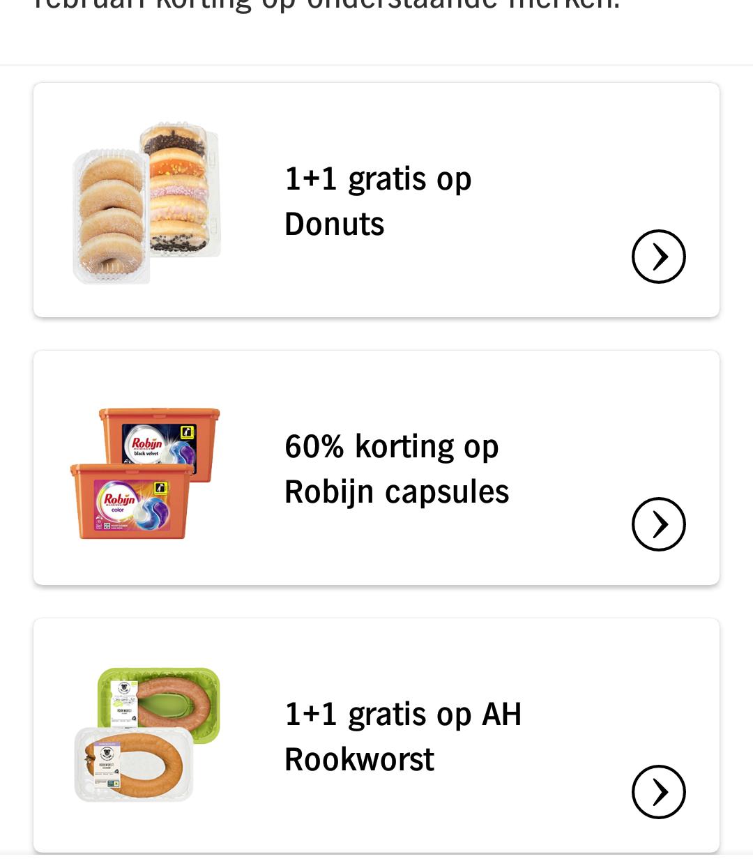 Albert Heijn App only aanbiedingen week 8: Robijn Capsules 60%, Rookworst en Donuts 1+1