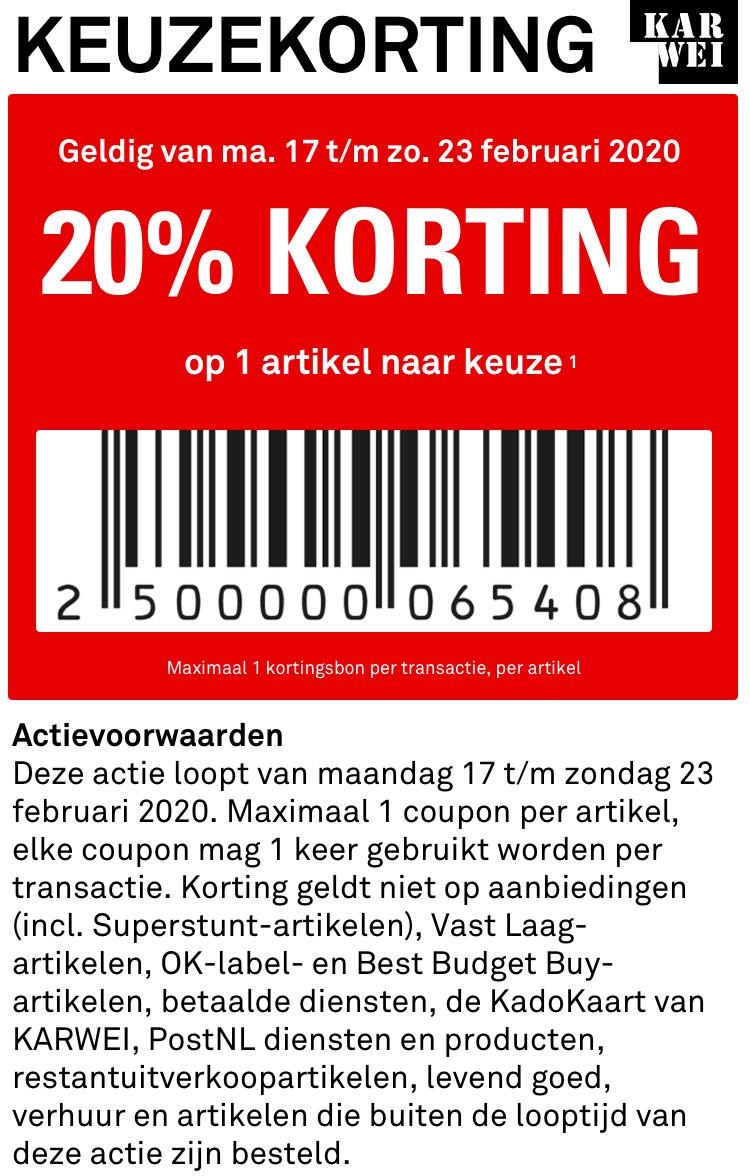 Karwei- 20% korting op 1 artikel naar keuze (ook Phillips hue) + 3x €5 korting stapelen!