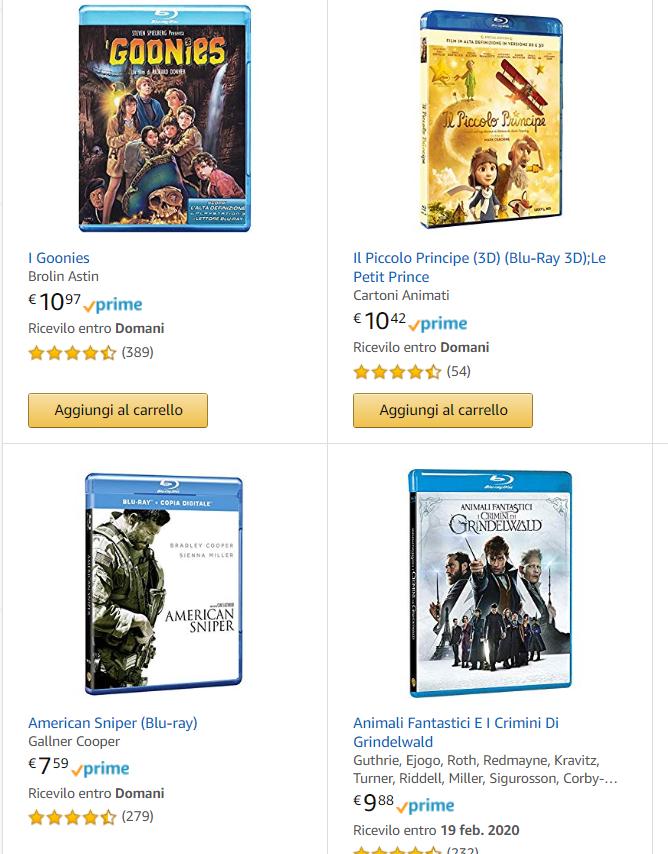 4 blu-ray's / blu-ray's 3d/DVD's voor €20[Amazon.it]