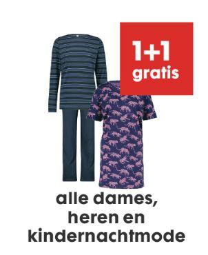 Nachtmode dames - heren - kids 1+1 GRATIS @ HEMA