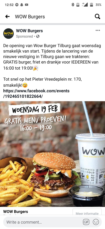 Gratis burger, frites en een drankje bij WOW Burgers in Tilburg