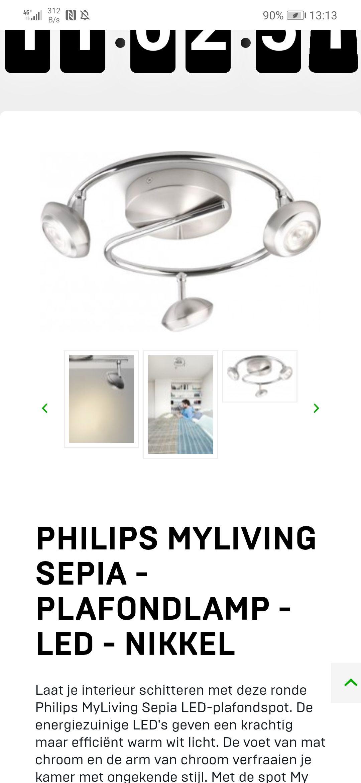 Philips Myliving Sepia - Plafondlamp - LED - Nikkel van €53 voor €19,95