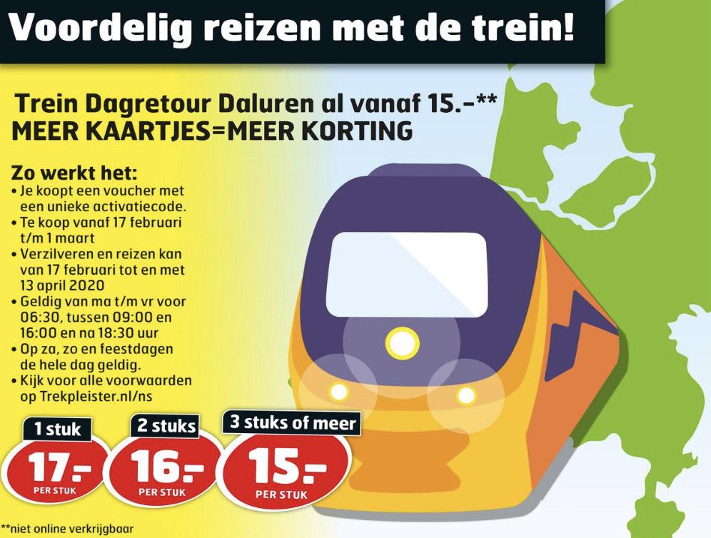 Stapelkorting trein Dagretour Daluren bij Trekpleister vanaf €15,00 || Trekpleister