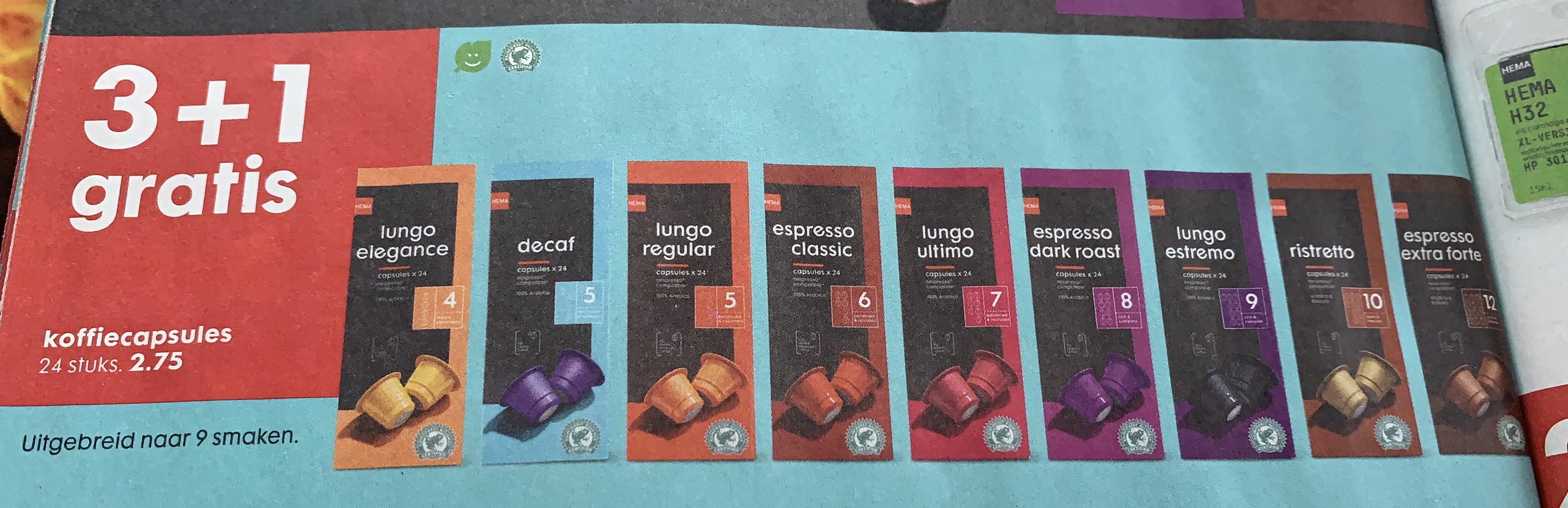Koffiecapsules 3+1 gratis HEMA