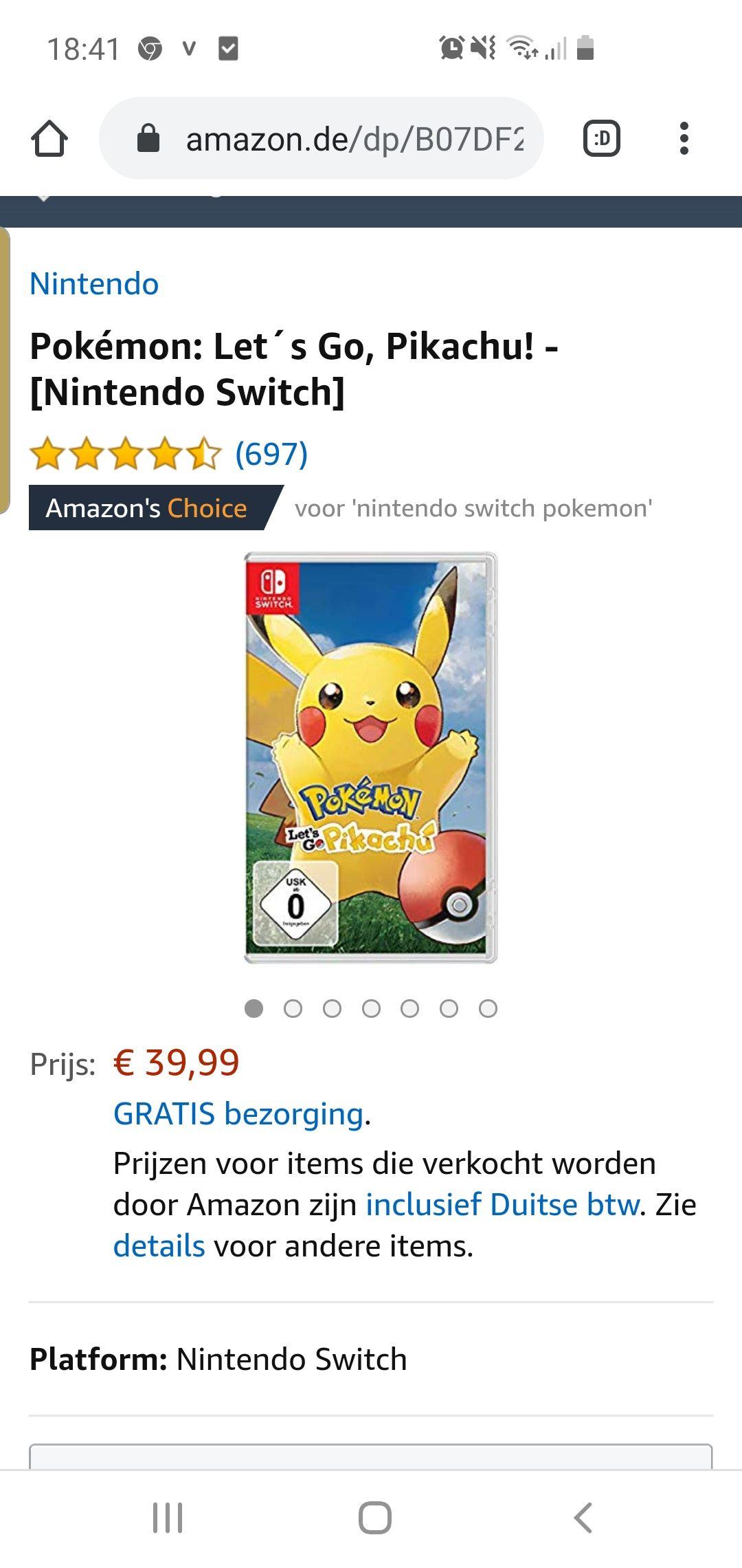 Pokemon pickachu voor de nintendo switch
