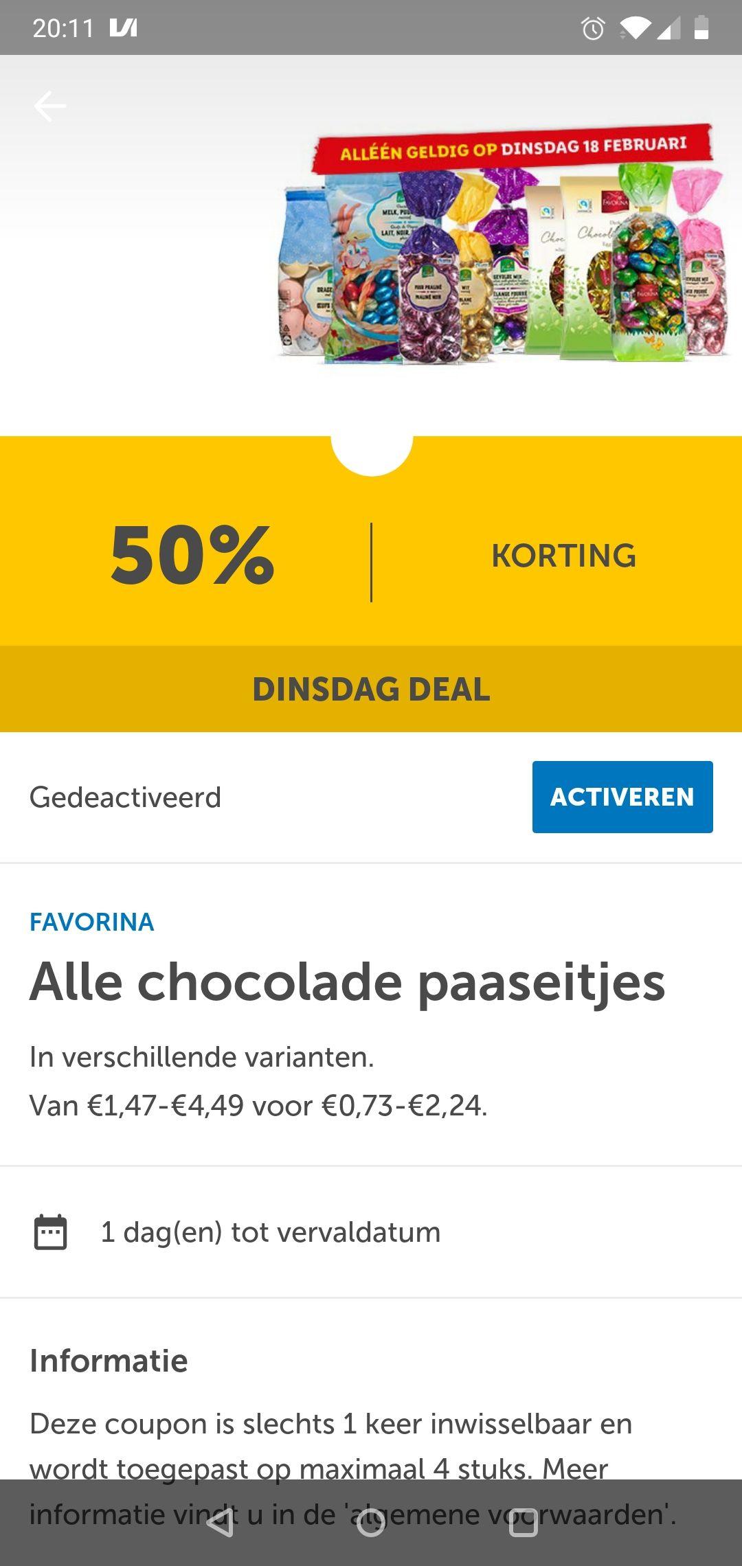 Alle paaseitjes 50% korting in de Lidl Plus app. Alleen dinsdag 18 februari