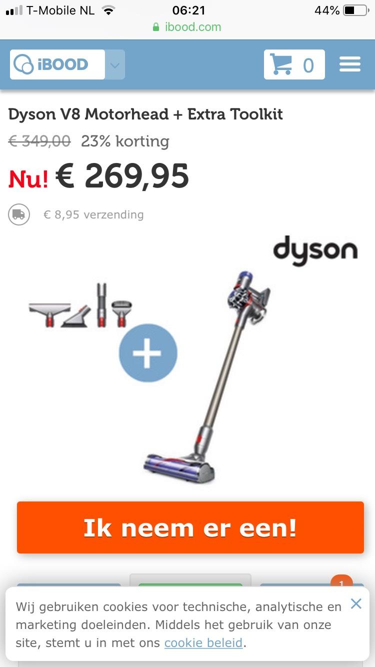 Dyson V8 Motorhead met accessoires