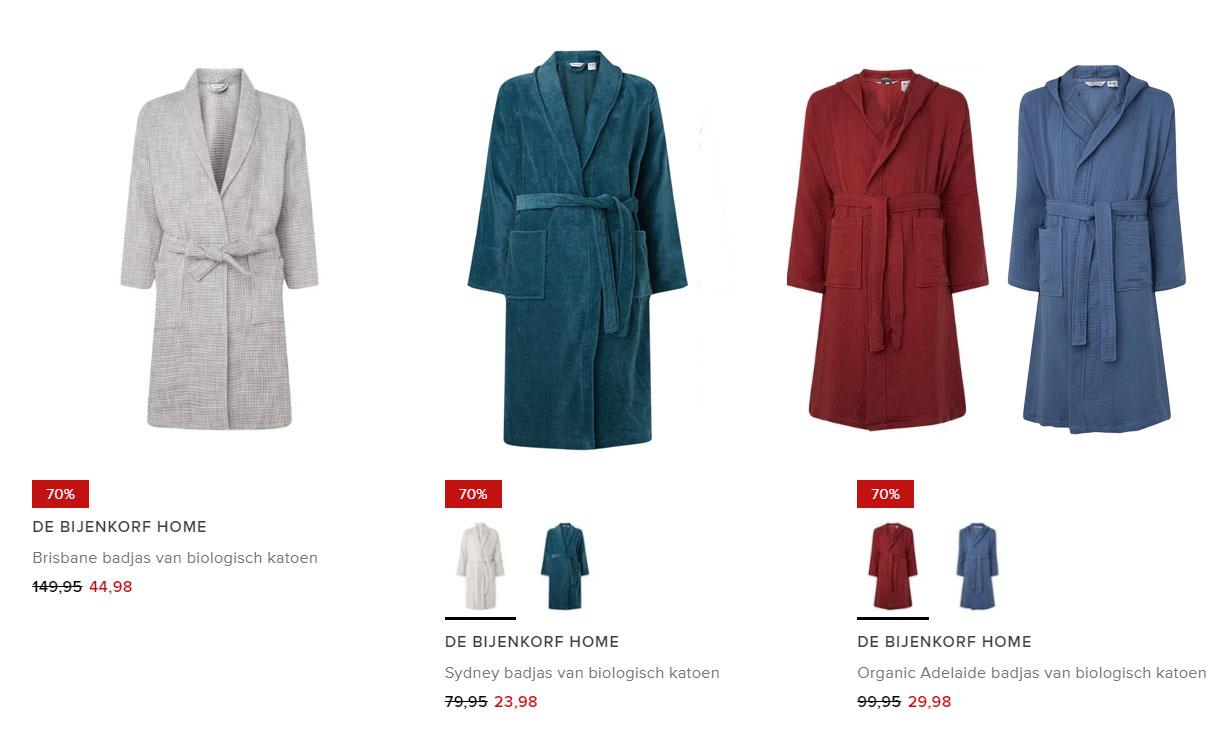 Bijenkorf HOME uniseks badjassen -70% (va €23,98) @ De Bijenkorf