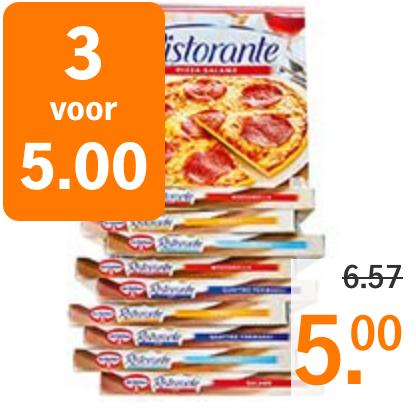 Ristorante-pizza's aangeboden bij Albert Heijn