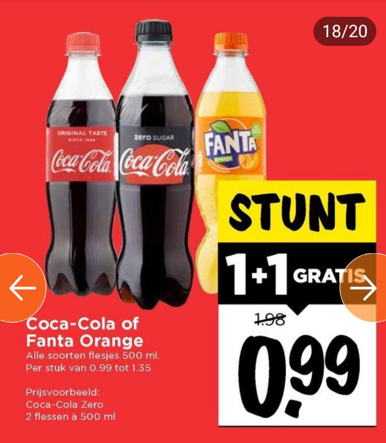 Weekenddeal, 2e gratis, Coca Cola / Fanta 500 ml @ Vomar