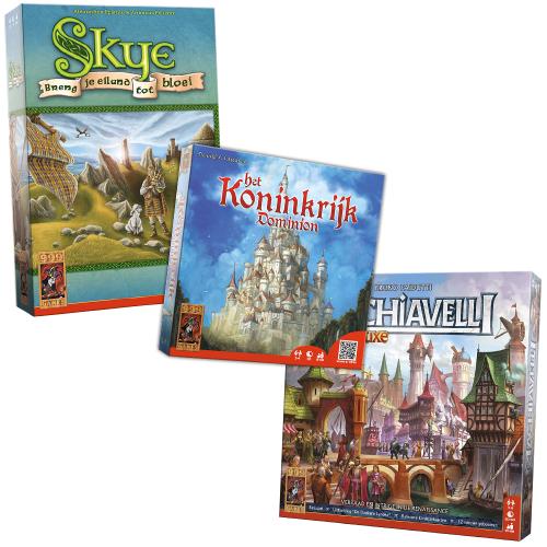 [Alleen met Tessa/Thuisbezorgd voucher] Machiavelli Deluxe, Skye en Het Koninkrijk Dominion voor €34,06 @ 999 games