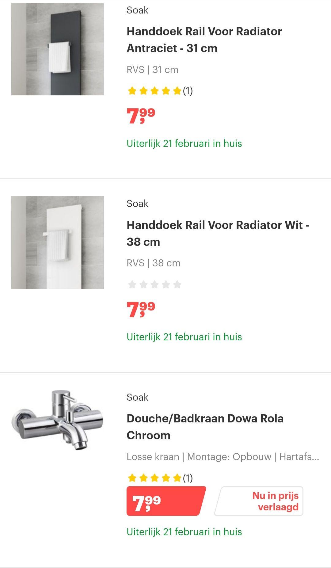 Goedkoop sanitair SOAK @bol.com kranen vanaf €7,99