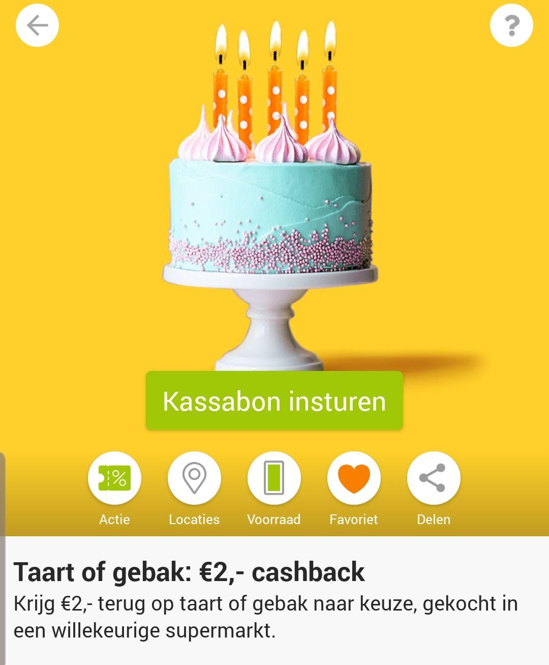 € 2,- cashback op taart en gebak