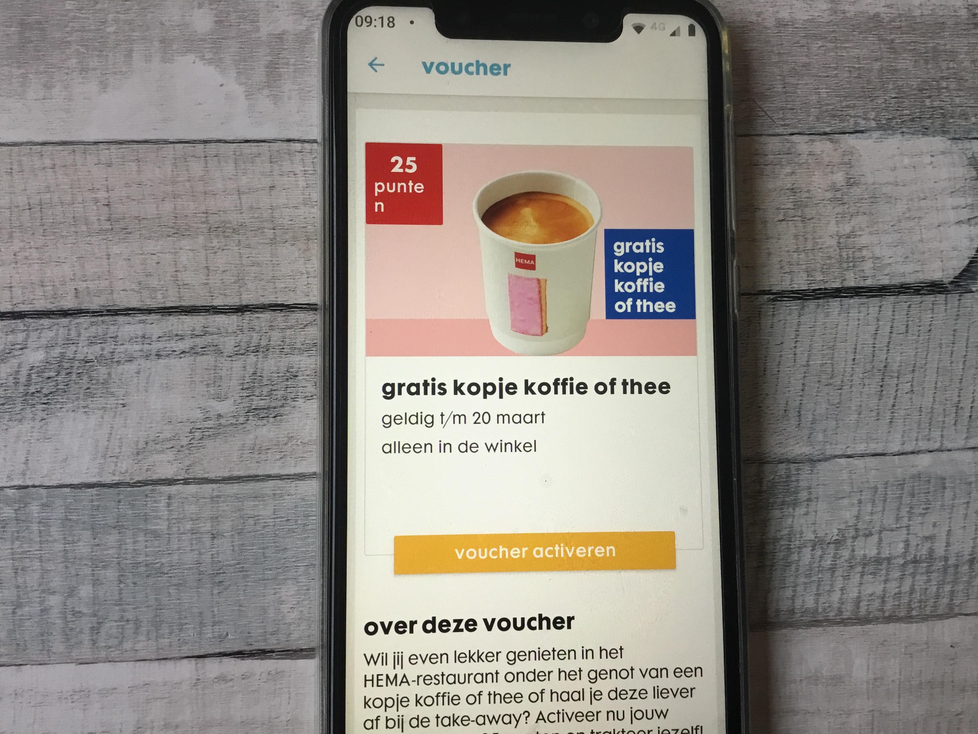 HEMA gratis kopje koffie of thee bij 25 op je voordeelkaart gespaarde punten