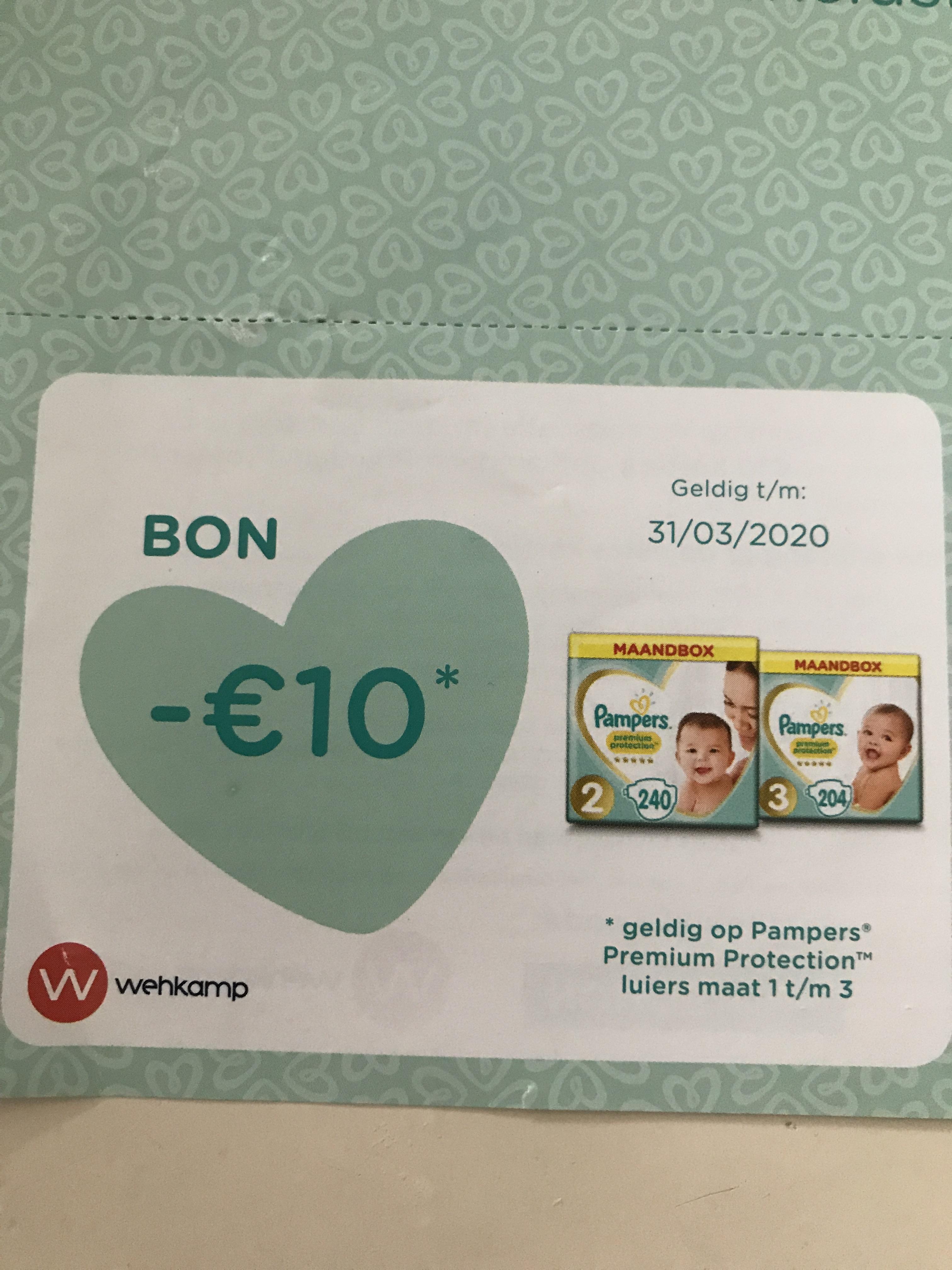 Pampers maandbox maat 1 en 2 50% korting EN €10 extra korting bij aankoop van 2 boxen @ Wehkamp