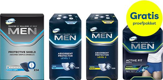 Probeer nu gratis TENA Men! Keuze uit 2 pakketten.