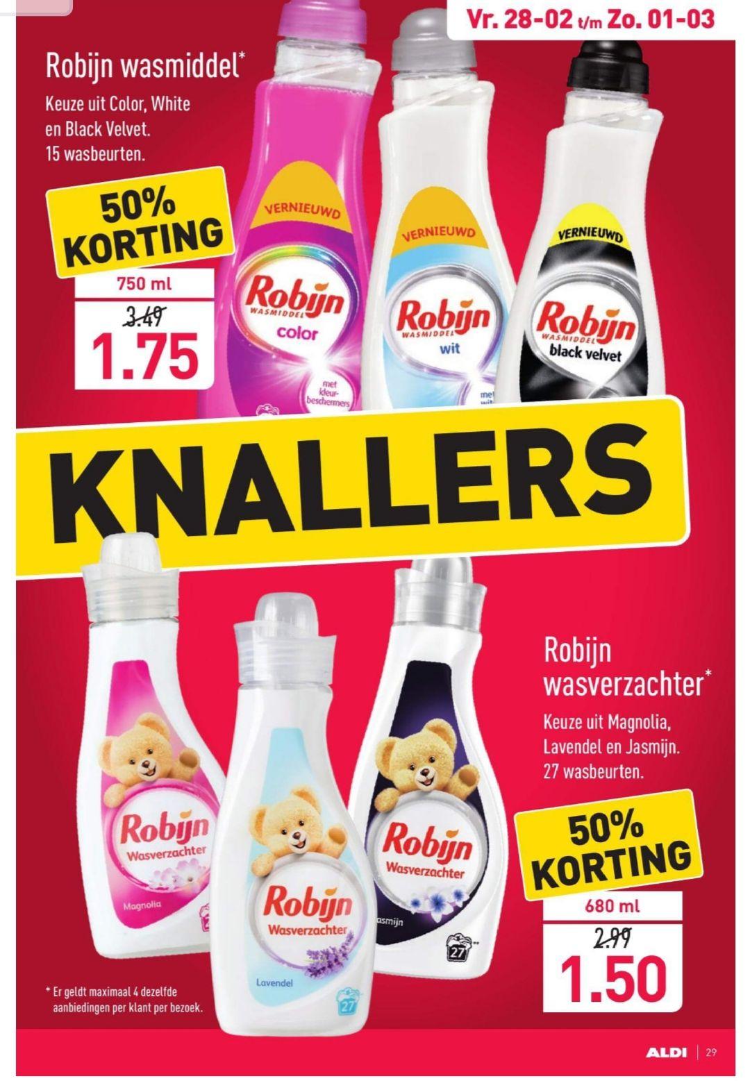 Robijn wasmiddel en wasverzachter €1.50/€1.75 @Aldi