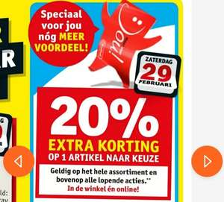 20% extra korting* op 1 artikel naar keuze @kruidvat Zaterdag 29-02 voor kaarthouders