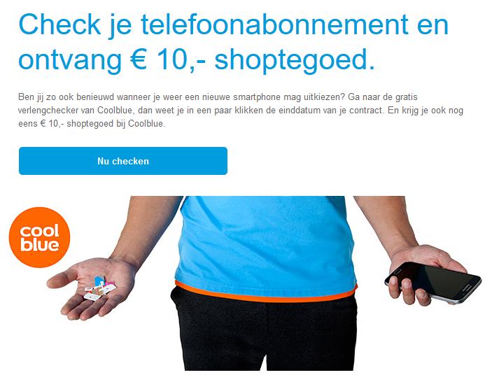 Gratis €10,- Coolblue-cadeaubon door mobile verlengingschecker (min. besteding €15) @ Coolblue