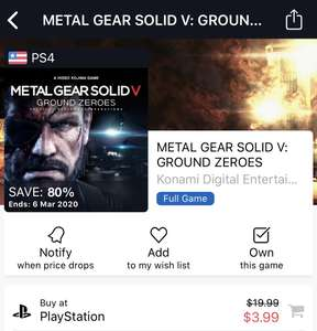 [PS4 USA store] Metal Gear solid V ground zero