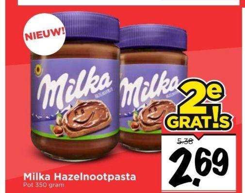 Milka hazelnootpasta 1+1 gratis (Vomar)