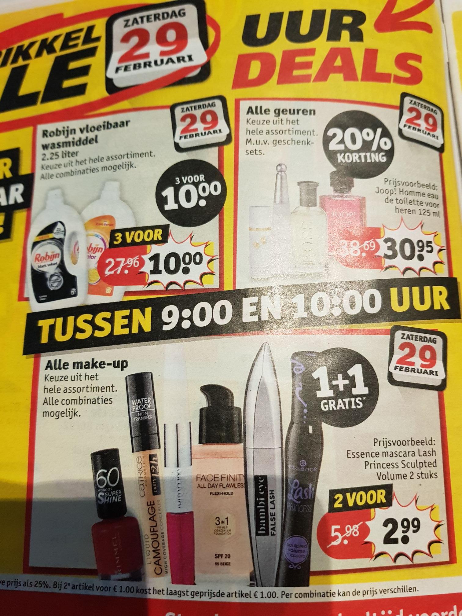 Alle make-up 1+1 gratis tussen 9 & 10 uur 's ochtends @ Kruidvat