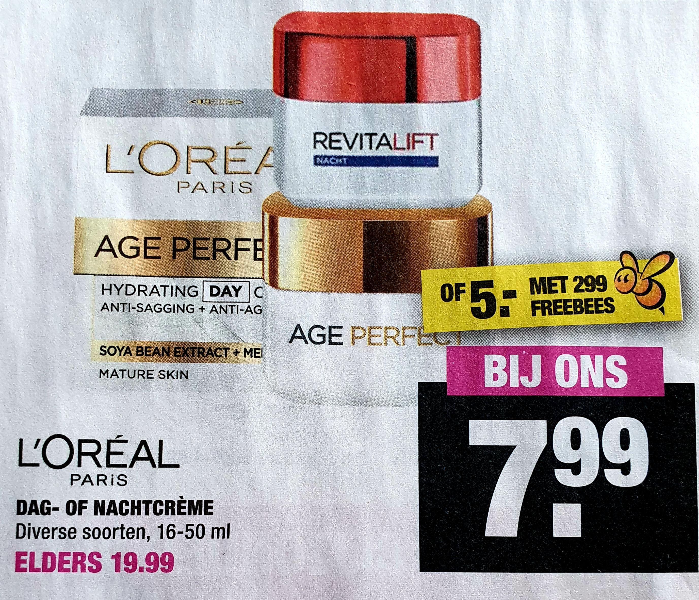 L'ORÉAL gezichtscrème €7,99 of €5,00 Big Bazar