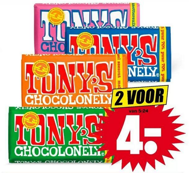 Tony Chocolonely, 2 repen voor € 4,- @ Dirk