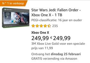 Xbox one x 1tb met star wars jedi the fallen order via amazone Frankrijk