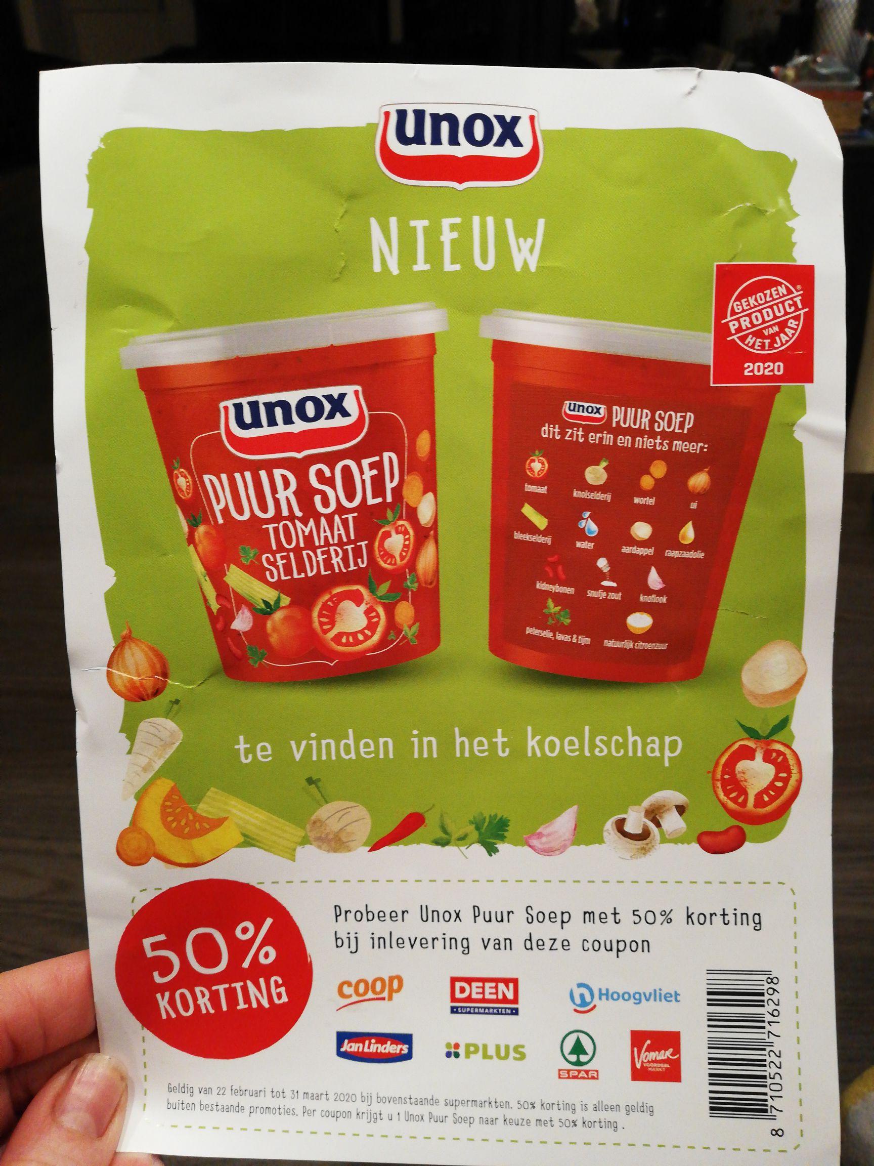 Unox puur soep 50 procent korting