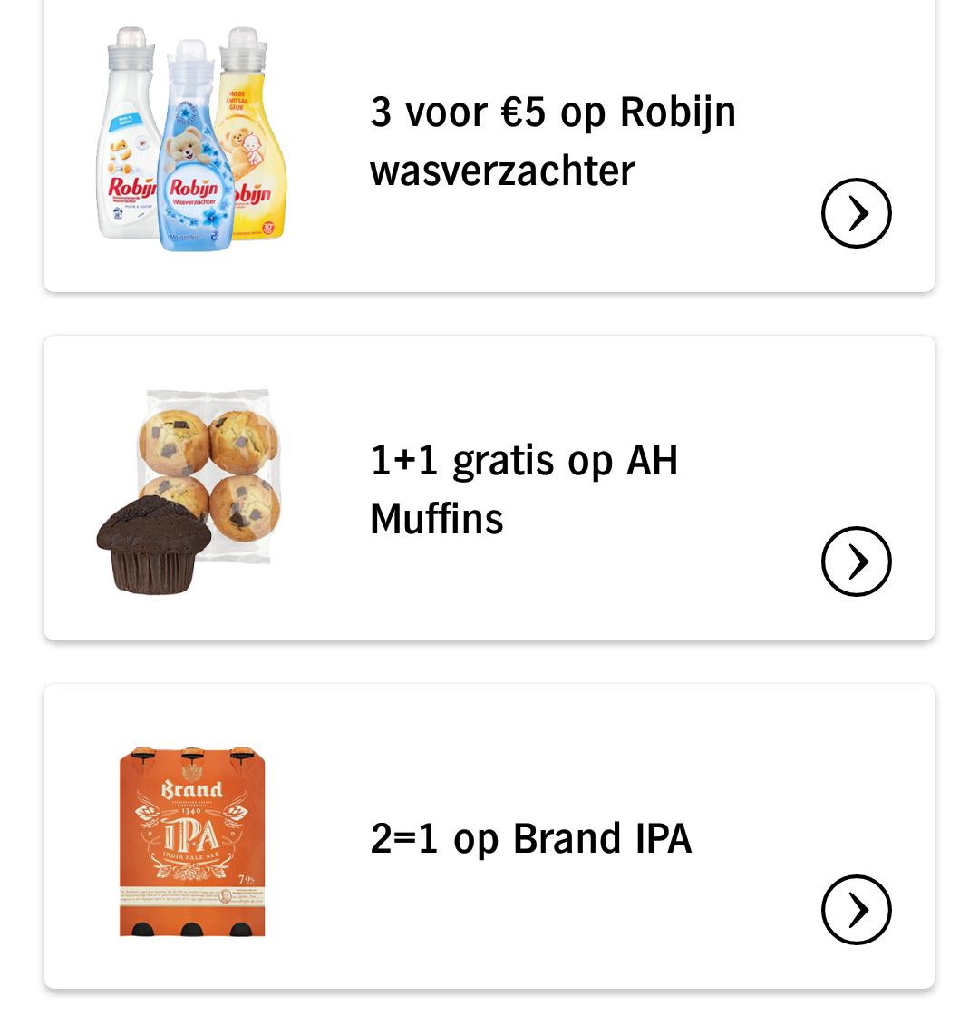 Albert Heijn App only aanbiedingen week 9 Robijn wasverzachter, muffins & Brand IPA