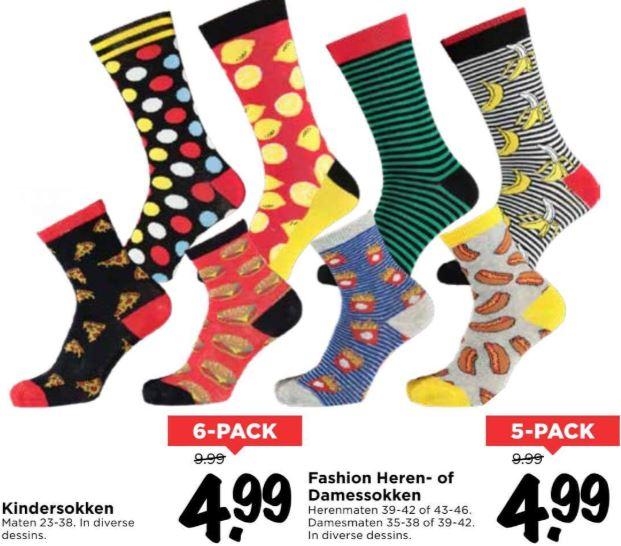 Dames // heren // kids sokken met print - 5- of 6-pack @ Vomar