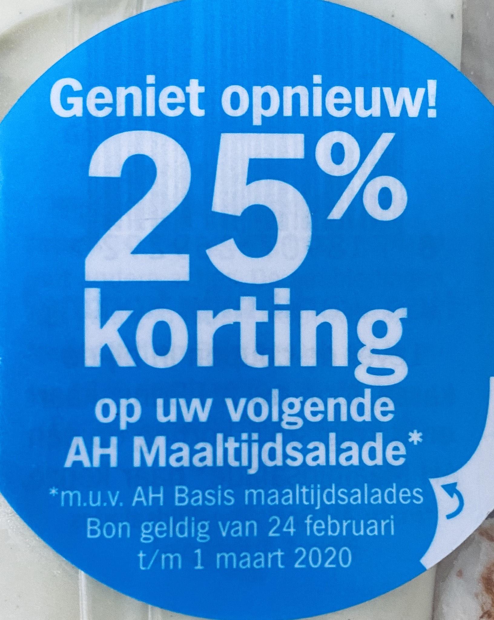 25% korting op AH maaltijdsalades