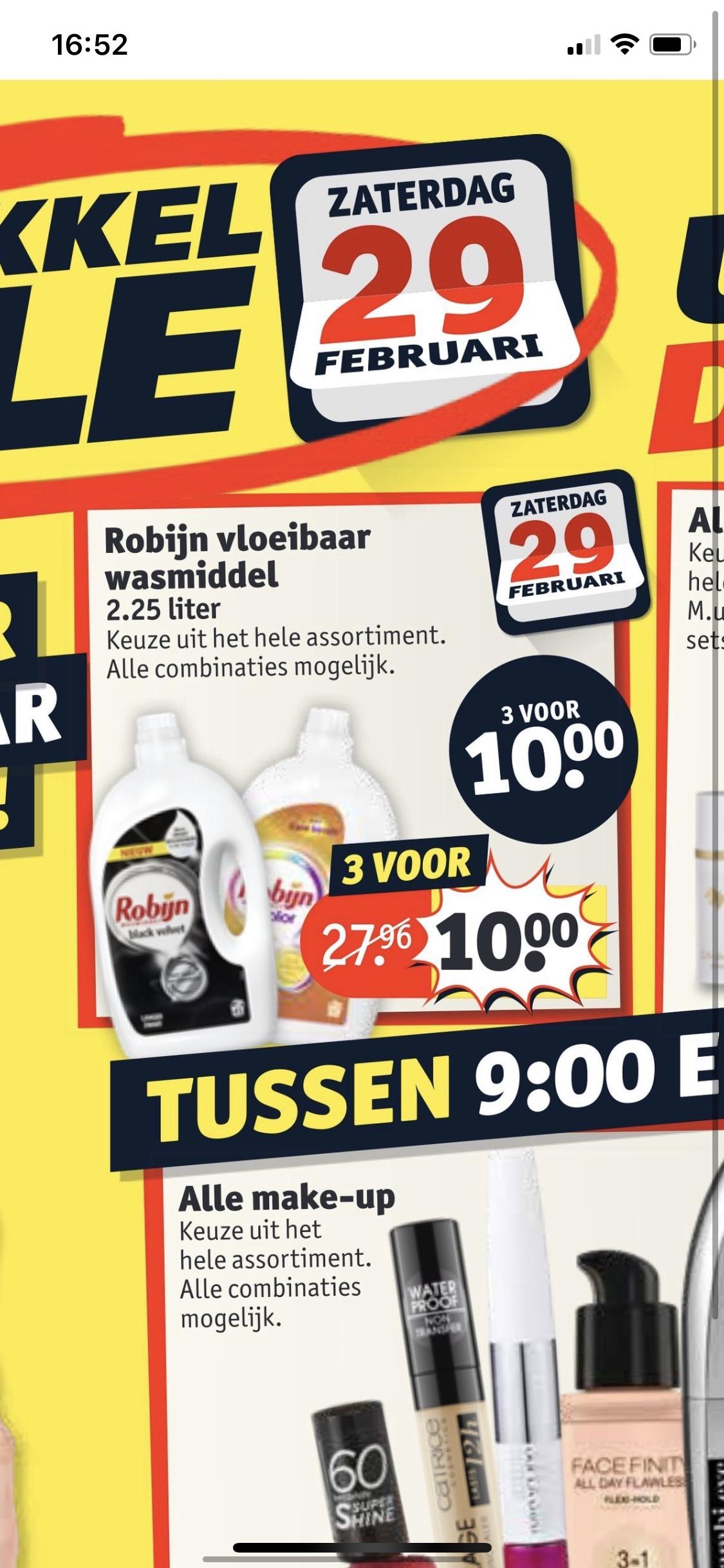 3 robijn wasmiddel (2,25L) voor €10,- (29 februari)