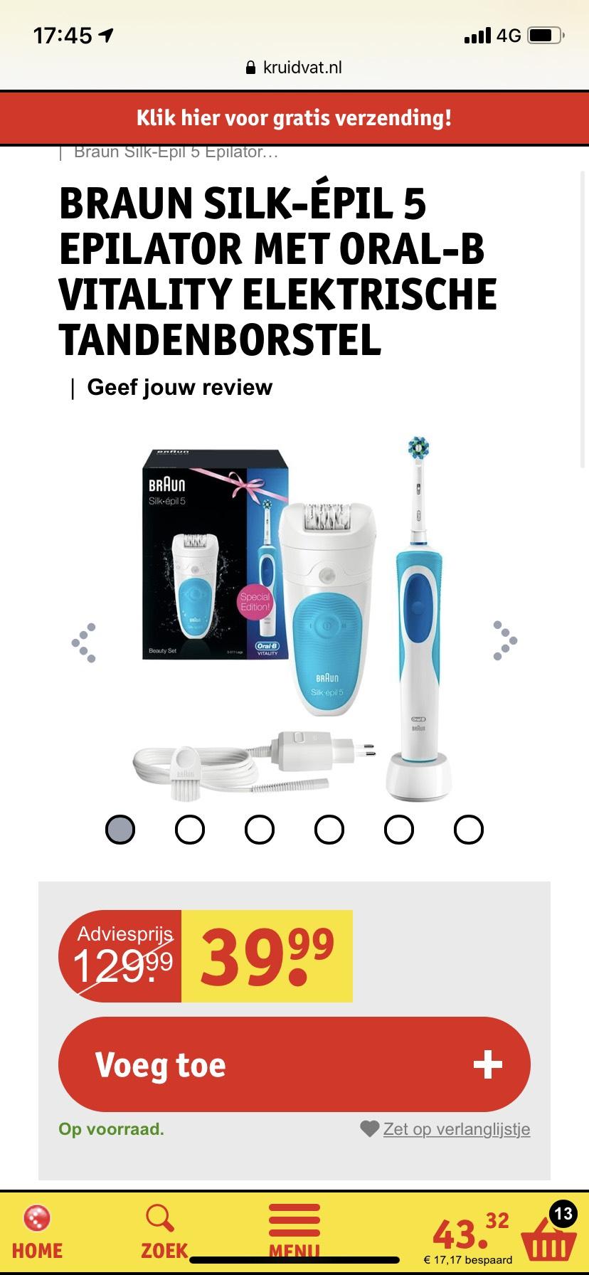 Braun epilator + Oral-B Elektrische TandenBorstel voor €39.99,-