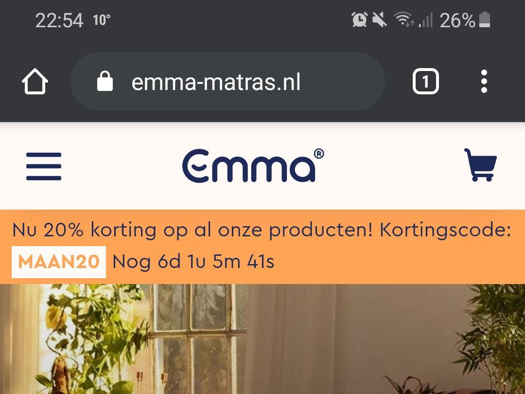 Emma matrassen; 20% korting op alles!!