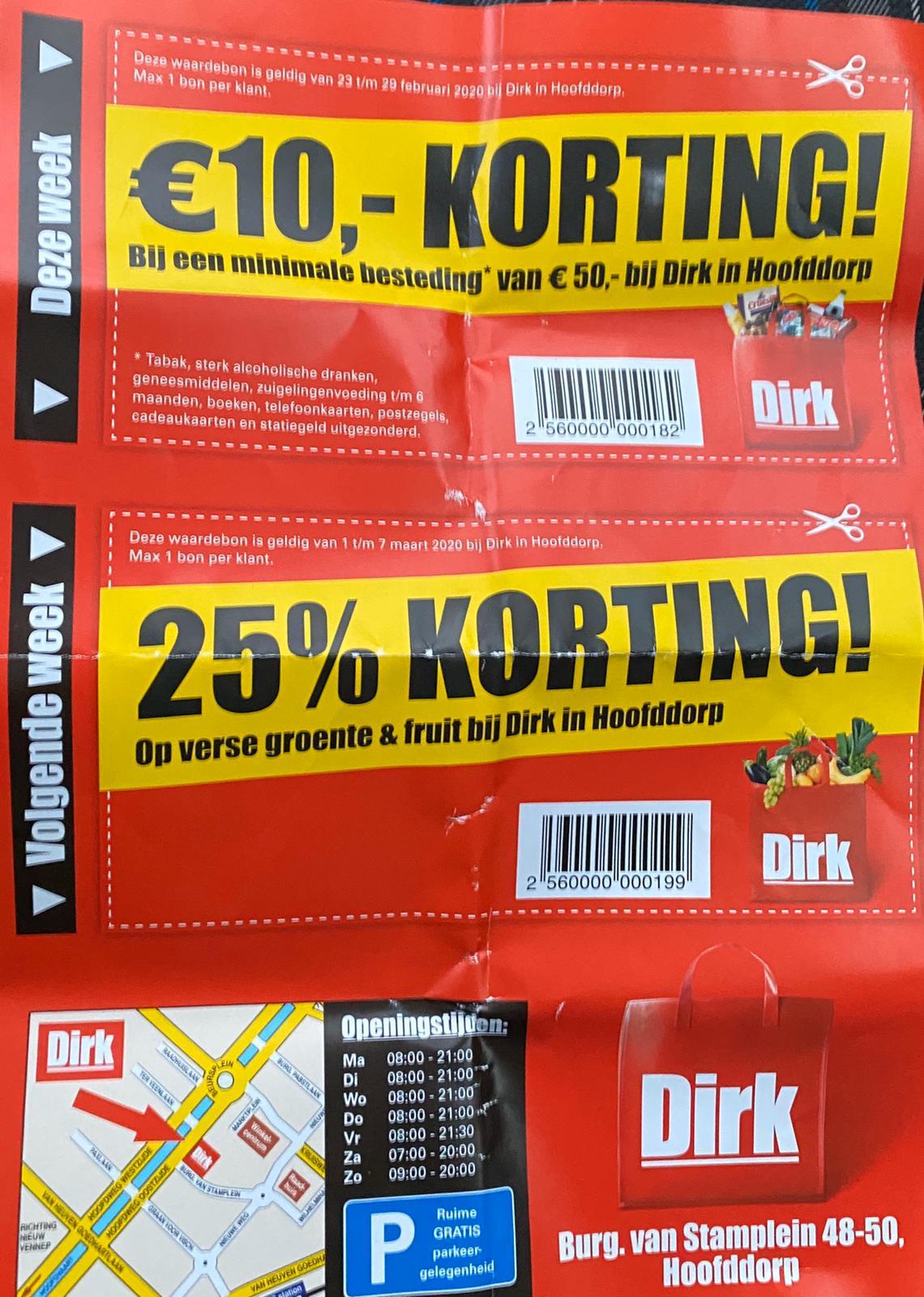 Dirk | €10,- korting op je boodschappen vanaf €50,- | vanaf volgende week 25% op groente en fruit