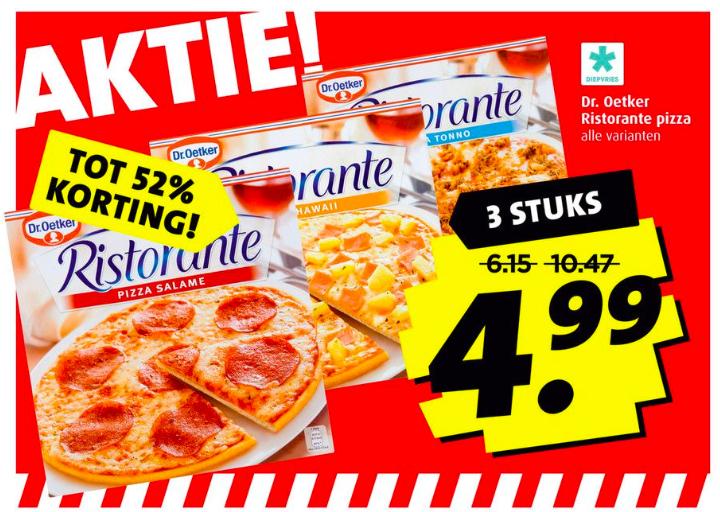 Tot 52% korting: 3 Dr. Oetker Ristorante Pizza's €4,99 @Boni