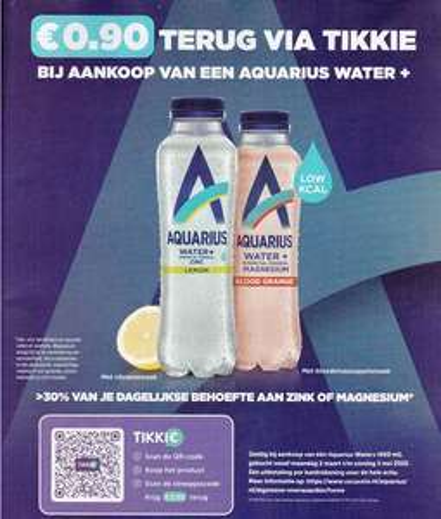 Bijna Gratis 400ml Aquarius water + via Tikkie geld terug