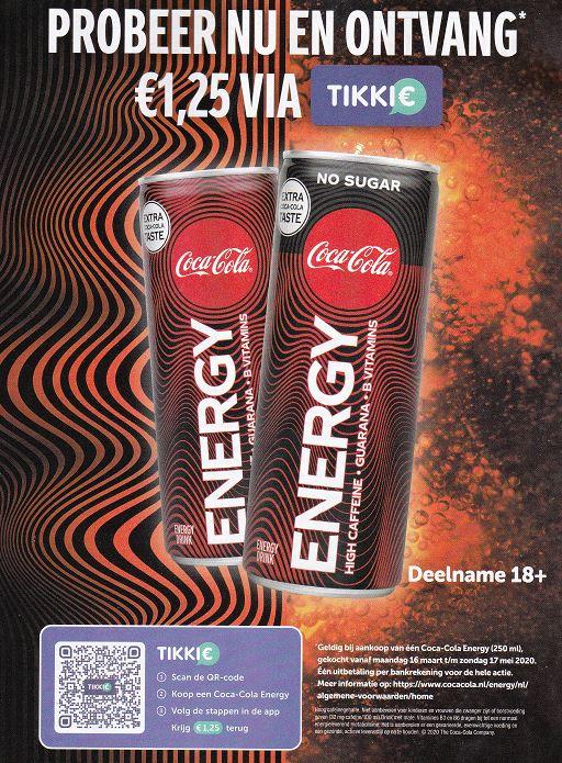 Bijna Gratis 250 ml Coca-Cola Energy via Tikkie geld terug