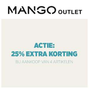 25% EXTRA korting (min 4 items) @ Mango Outlet