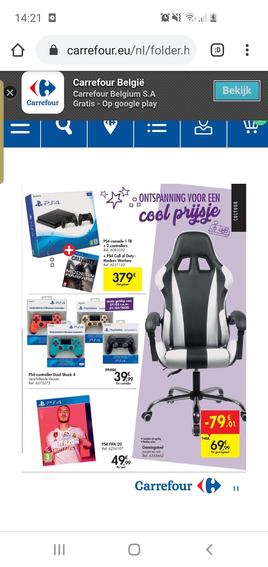 Grensdeal Belgie carrefour hypermarkt playstation 4 controller meerdere kleuren