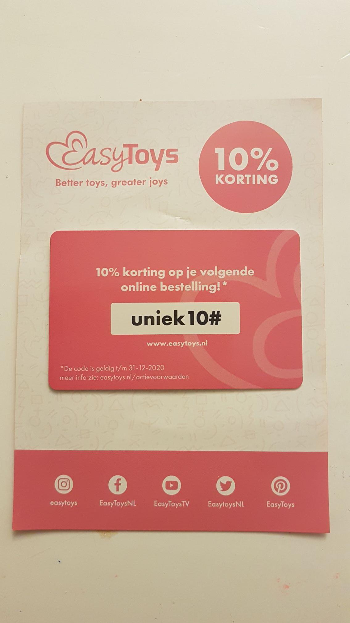 10% korting op Easytoys bestelling. Kortingscode