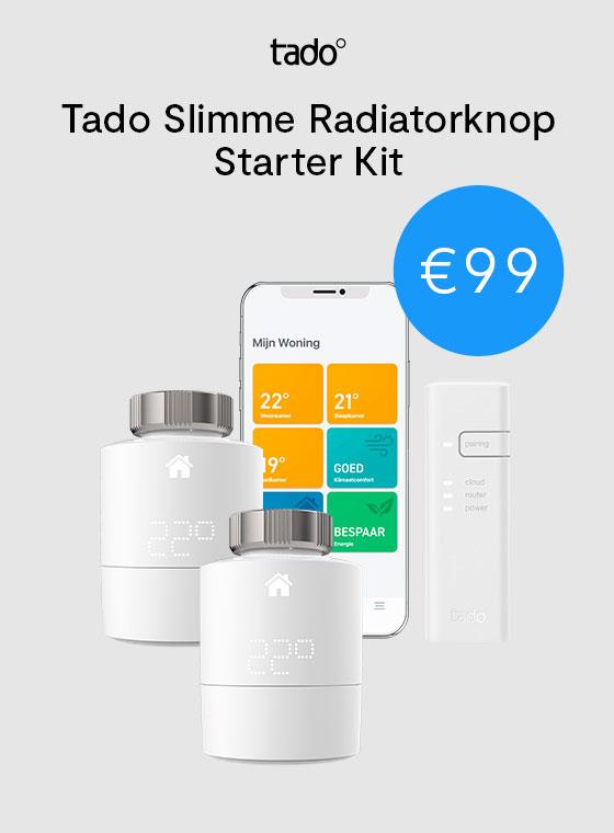 Tado Slimme Radiatorknop Starter Kit V3+ incl. Bridge + 1x extra Radiatorknop @ Tink