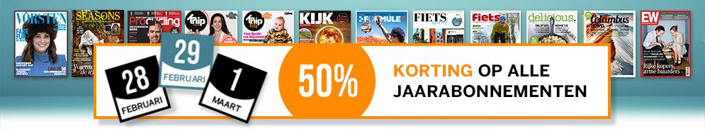 50 % korting op één van de 14 deelnemende tijdschriften