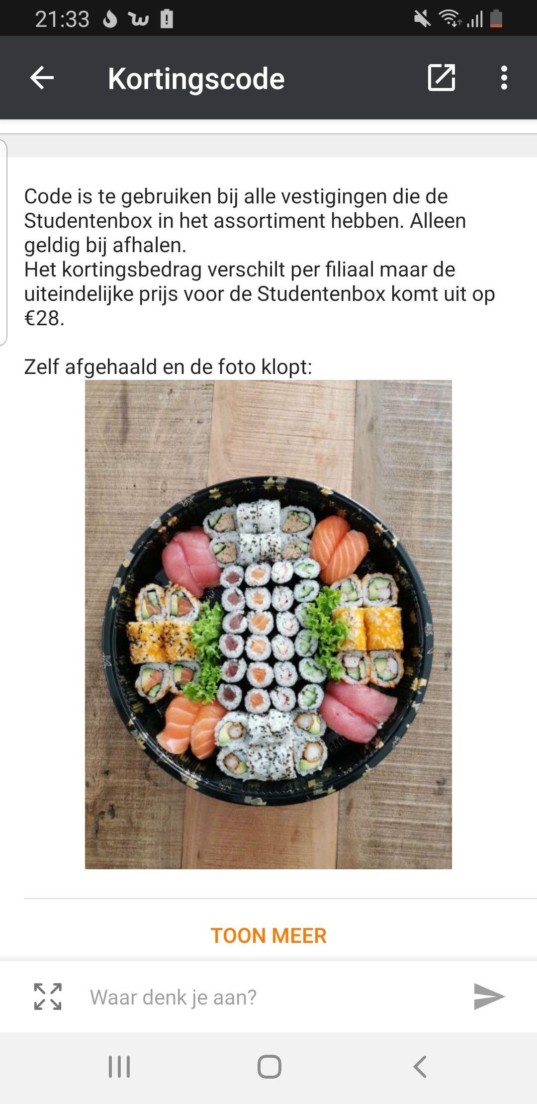 15% schrikkelkorting bij mr sushi